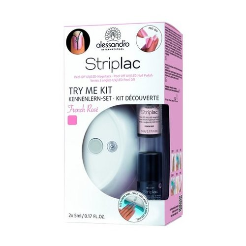 Alessandro Striplac Try Me Kit French Rosé Led-lamp + 05 ml striplac-kleur French Rosé + 05 ml Twin Coat + reinigingspads + 02 houten bokkenpootjes + polijstvijl